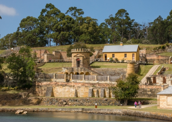 the-guard-tower-1835-in-the-foreground-with-the-senior-military-officers-quarters-1833-in-the-background-port-arthur-historic-site-tasmania-australia
