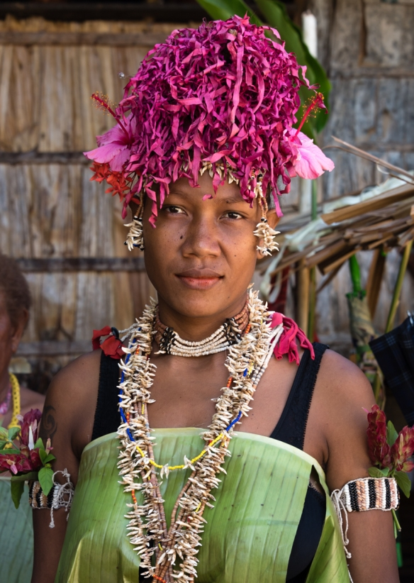 A beautiful headdress on one of the women dancers photographed before the performance, Santa Ana, Solomon Islands