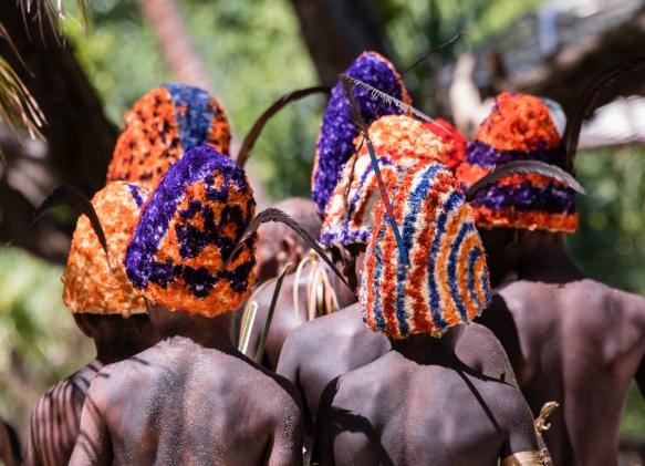 A close up of the boys_ head dresses, Ceremonial Dance on Loh Island, Torres Islands, Vanuatu
