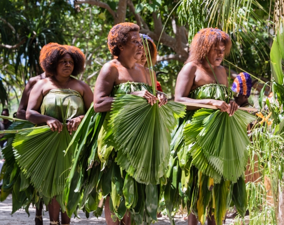 A close up of the women dancers with their fans lowered, later in the dance; Ceremonial Dance on Loh Island, Torres Islands, Vanuatu