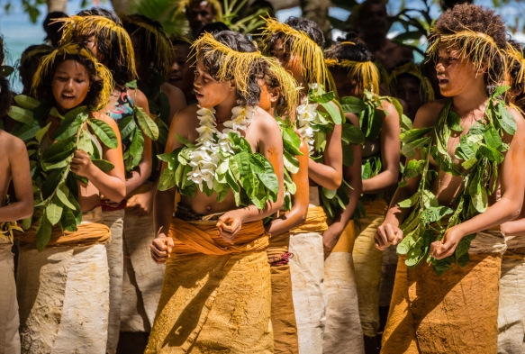 A close up of the young girl dancers (I) as they performed traditional ceremonial dances on Tikopia, Solomon Islands