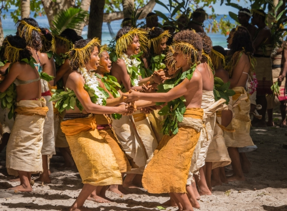 A close up of the young girl dancers (II) as they performed traditional ceremonial dances on Tikopia, Solomon Islands