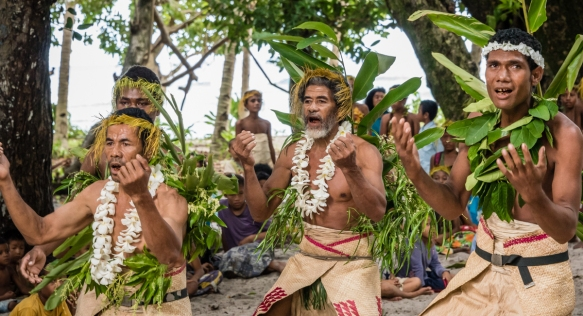 A group of men dancers (II) as they performed traditional ceremonial dances on Tikopia, Solomon Islands
