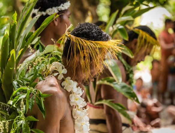 A group of men dancers (V) as they performed traditional ceremonial dances on Tikopia, Solomon Islands