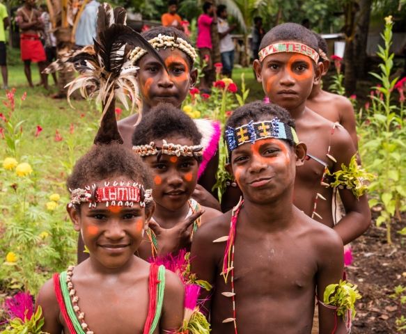 A group of the children dancers, after the dance, Baluan Island, Papua New Guinea