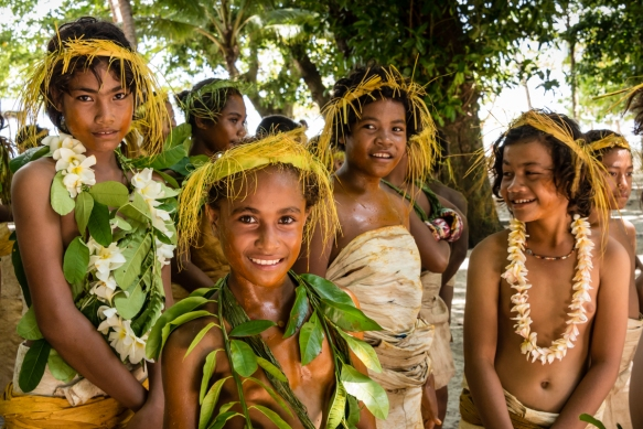 A group of young girl dancers (I) before they performed traditional ceremonial dances on Tikopia, Solomon Islands