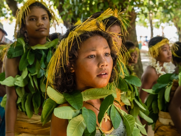 A group of young girl dancers (II) before they performed traditional ceremonial dances on Tikopia, Solomon Islands