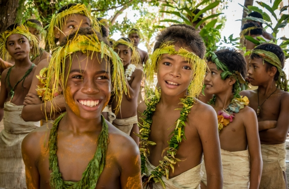 A group of young girl dancers (III) before they performed traditional ceremonial dances on Tikopia, Solomon Islands