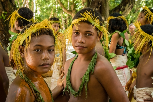 A group of young girl dancers (V) before they performed traditional ceremonial dances on Tikopia, Solomon Islands