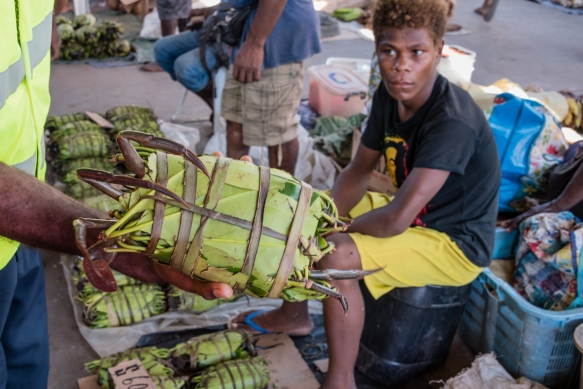 A local delicacy, mud crabs were wrapped in leaves for easy transport, Central Market, Honiara, Guadalcanal, Solomon Islands