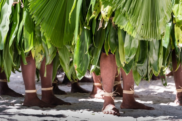 """A look at the women dancers_ feet and ankle """"bracelets"""", Ceremonial Dance on Loh Island, Torres Islands, Vanuatu"""