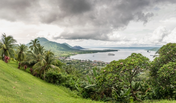 A panoramic view of Rabaul, Papua New Guinea, which was built on the edge of a flooded caldera, at a place called Simpsons Harbour and is ringed by volcanoes, including Mt. Tavurvur