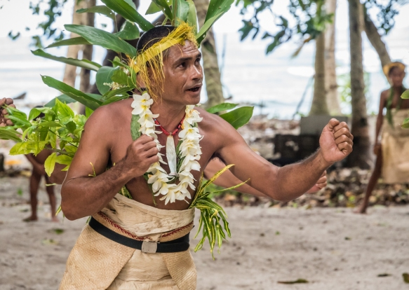 A solo man dancer performed traditional ceremonial dances on Tikopia, Solomon Islands