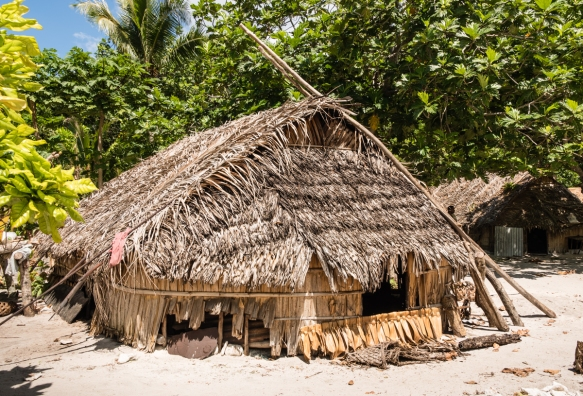 A traditional home in Tikopia, Solomon Islands, where the houses are built low to the ground to withstand storms and cyclones and to economize on building materials; cooking is done in c
