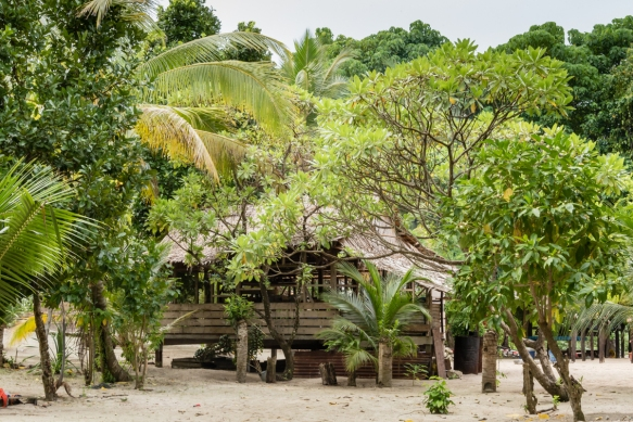 A typical home (raised on stilts) in Titiana Village, Ghizo Island, Solomon Islands