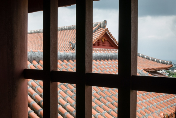 A view of the castle from a window in a room near the Usasuka where the king conducted business, Ryukyu Castle, Naha, Okinawa, Japan