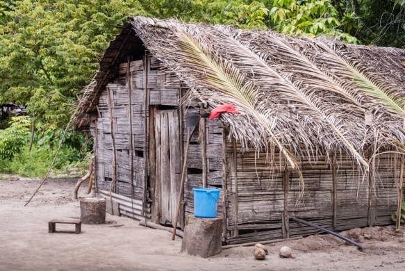 All of the homes on the island are built in a traditional style, with 100% of the materials coming from the island, including the thatched roofs, Loh Island, Torres Islands, Vanuatu