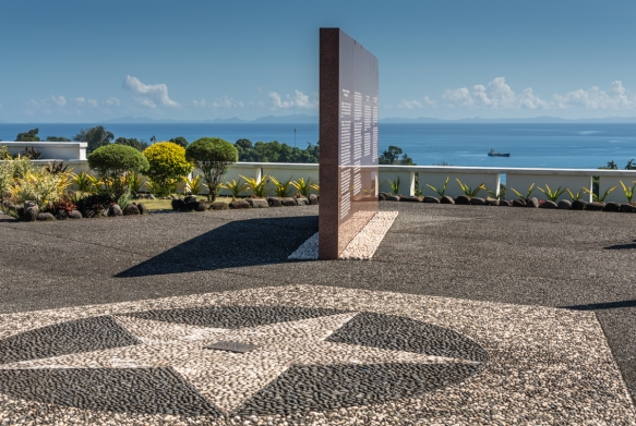 Arrayed around the military star are four directional walls pointing to major battle sites, each inscribed with portions of the history of the Guadalcanal WW II Campaign, Guadalcanal Ame