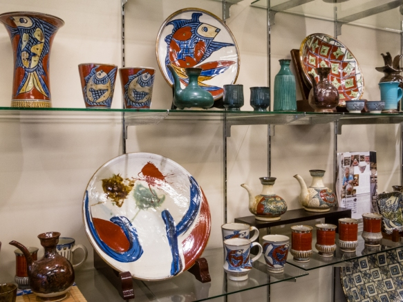 Beautiful finished pottery for sale at a gallery on Tsuboya Yachimun Street in the famous Naha pottery district, Okinawa, Japan