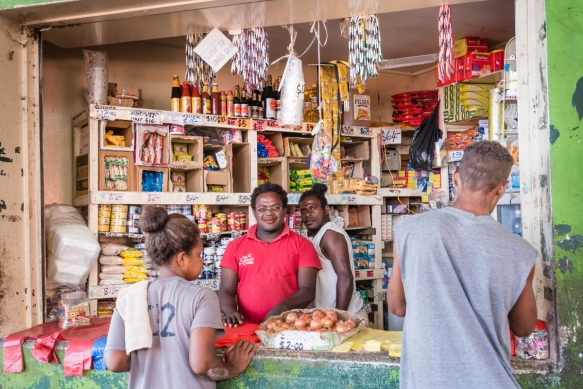 "Canned and dry goods were available for purchase at this small ""convenience store"" in the fish and seafood section of the Central Market, Honiara, Guadalcanal, Solomon Islands"