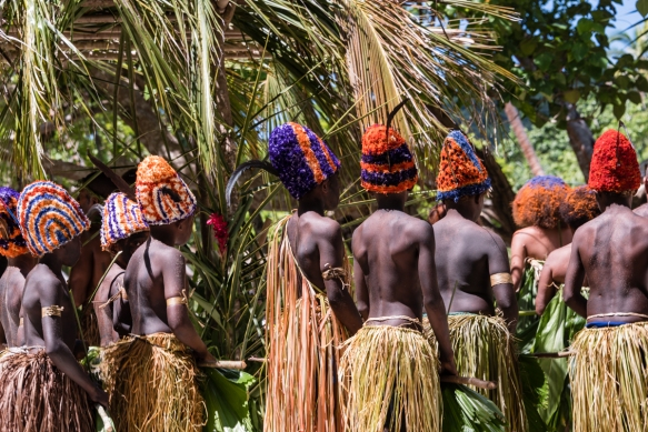Each of the boys_ head dresses was individually crafted, Ceremonial Dance on Loh Island, Torres Islands, Vanuatu