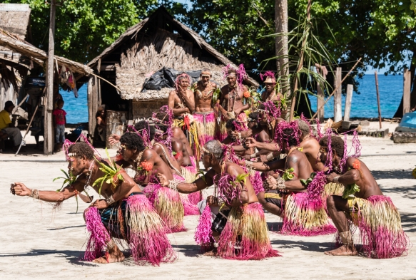 First dance troupe (I), Traditional Ceremonial Dances on Santa Ana, Solomon Islands