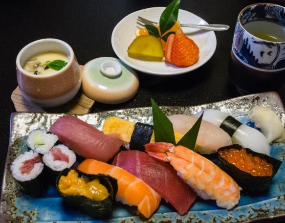 In addition to a beautiful plate of freshly prepared sushi, we had a pot of Chawanmushi (steamed savoury egg custard) and hot green tea, Sushi restaurant in Arita, Kyushu, Japan