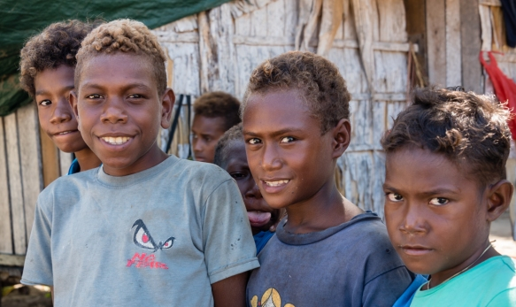 Note the blond hair on some of the boys which is common in this area (and genetically separate from European and American blondes_ genes-DNA), Santa Ana, Solomon Islands