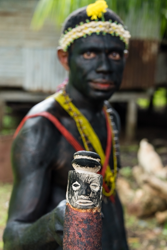 One of the warriors who welcomed us to the island, Baluan Island, Papua New Guinea