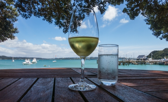 our-al-fresco-fresh-seafood-luncheon-at-the-gables-begun-with-a-nice-crisp-new-zealand-sauvignon-blanc-was-served-to-us-sitting-under-a-tree-at-a-table-on-the-edge-of-the-bay-russell