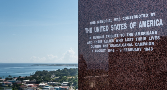 Our battlefields tour began with a visit to the Guadalcanal American Memorial atop a hill overlooking Henderson Airfield and the Solomon Sea, Guadalcanal Island, Solomon Islands