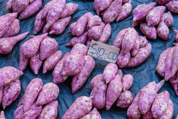 Our last purchase at the Central Market, Honiara, Guadalcanal, Solomon Islands, was a bunch of local purple yam potatoes