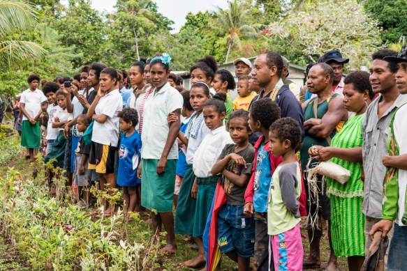 """Quite a crowd gathered above the shore to watch the """"welcoming party"""" greet us, Baluan Island, Papua New Guinea"""