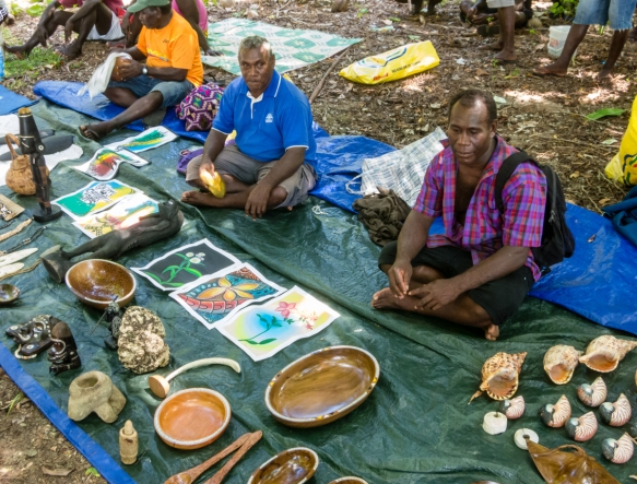 Several islanders in the very large open air market that was set up for our visit, Sabulo Island, Marovo Lagoon, Solomon Islands