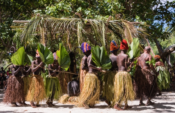 The boys were joined by a group of village women dancers, who also entered the performance area with their faces hidden behind green leaf fans, Ceremonial Dance on Loh Island, Torres Isl