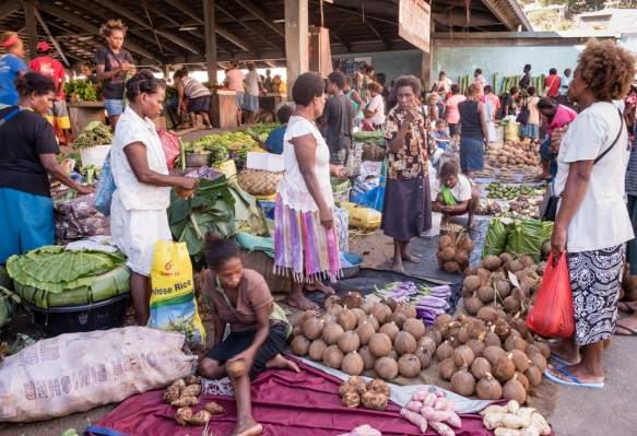 The Central Market in Honiara, Guadalcanal, Solomon Islands, is where the fruits and vegetables sold by around 1,000 vendors (mostly women) are grown locally (mostly organically) and the