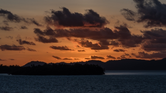 "The ""Alpen Glow"" after sunset was pretty spectacular at Marovo Lagoon, Solomon Islands"
