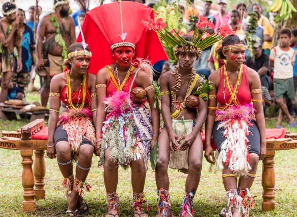 The final ceremony was quite special – a reenactment of a Baluan marriage with traditional ceremonial costumes for the bride, groom and two bridesmaids, Baluan Island, Papua New Guinea