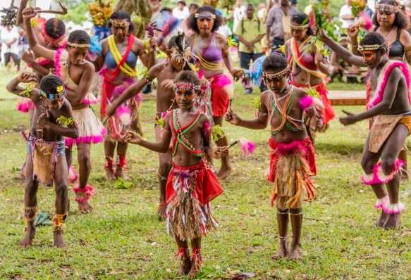 The first ceremonial dance was put on by children of the island, Baluan Island, Papua New Guinea