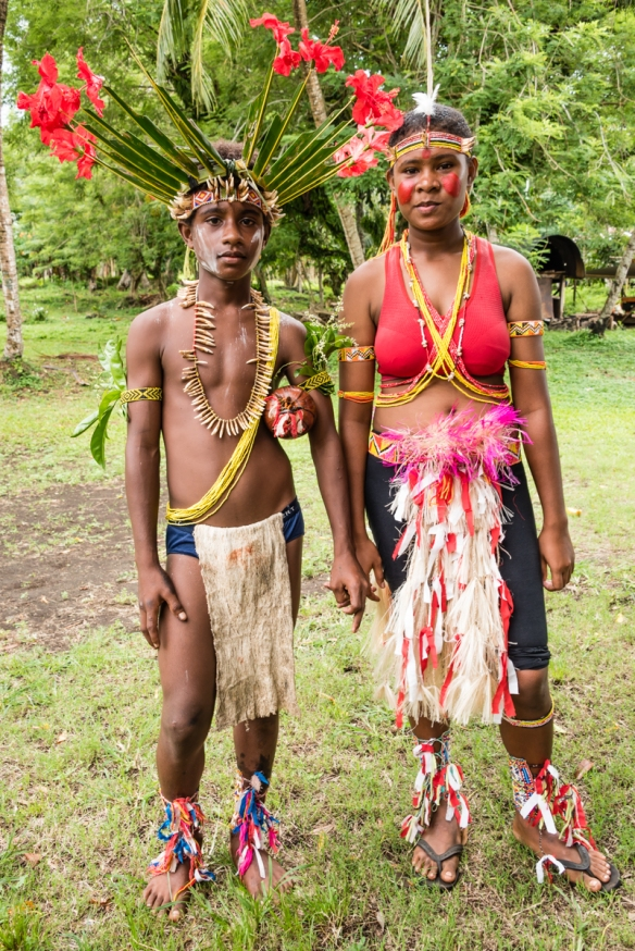 The groom and a bridesmaid, Baluan, Papua New Guinea