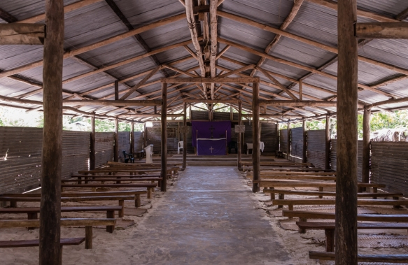 The interior of the Seventh Day Adventist church in the middle of the village, Loh Island, Torres Islands, Vanuatu; it is one of several churches on an island with a population of only 2