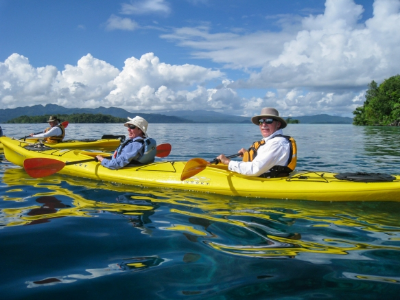 The intrepid explorer and your blogger enjoying a morning of kayaking in Marovo Lagoon, Solomon Islands