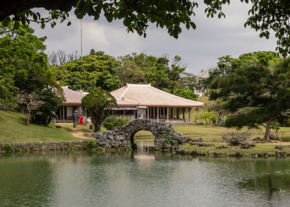 The reconstructed Ryukyu kings_ second residence at Shikinaen Royal Garden, Naha, Okinawa, Japan, originally built at the end of the 18th century