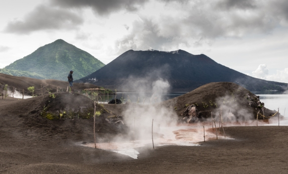 The region around Rabaul, Papua New Guinea, remains seismically active; here hot springs come to the surface at 100 degrees C (212 degrees F) and flow into Simpsons Harbor; Mt. Tavurvur