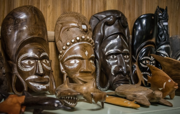 The selection of wood carved masks and sea life sculptures is quite broad, Dive Gizo, Gizo, Ghizo Island, Solomon Islands