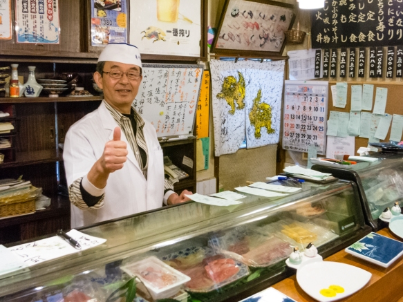 The sushi chef-owner of the sushi restaurant in Arita, Kyushu, Japan, was very happy that we thoroughly enjoyed our wonderful luncheon