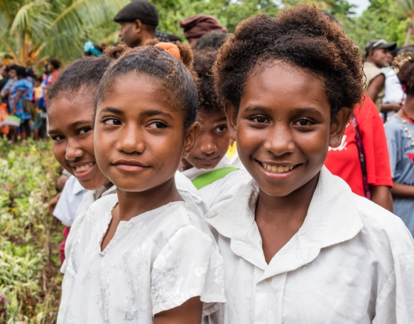 These girls were enjoying our welcoming, Baluan Island, Papua New Guinea