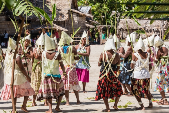 Third dance troupe (I), Traditional Ceremonial Dances on Santa Ana, Solomon Islands