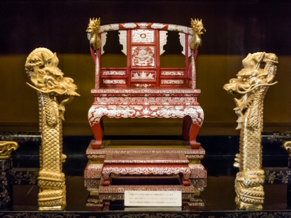 This king_s seat is restored from pictures and references of the seat used by King Sho Shin, who ruled from 1477 to 1526, Ryukyu Castle, Naha, Okinawa, Japan
