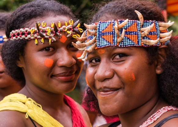 Two of the older girl dancers, Baluan Island, Papua New Guinea